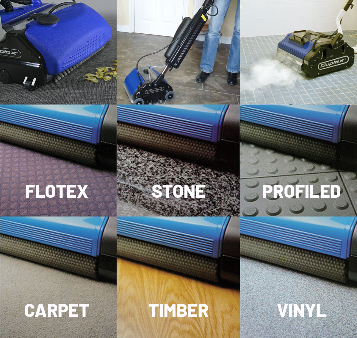 Duplex floor cleaning product applications