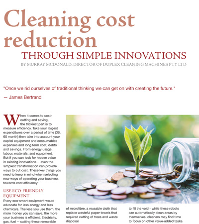 Cleaning Cost Reduction