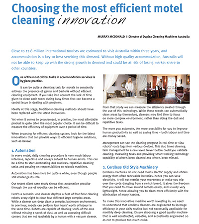 Choosing the most efficient motel cleaning innovation