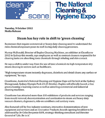 Steam has key role in shift to green cleaning
