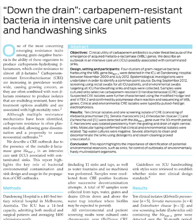 Removal of bacteria in intensive care unit patients and handwashing sinks