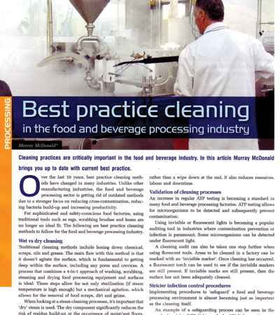 Best Practice Cleaning in the Food and Beverage Processing Industry