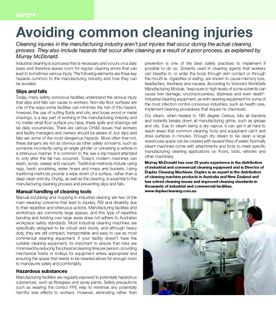Avoiding common cleaning injuries