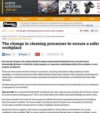 The change in cleaning processes to ensure a safer workplace