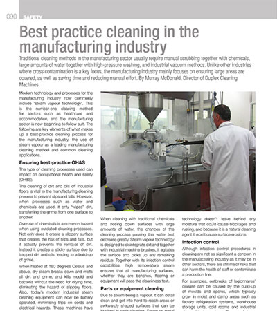 Best Practice Cleaning in The Manufacturing Industry