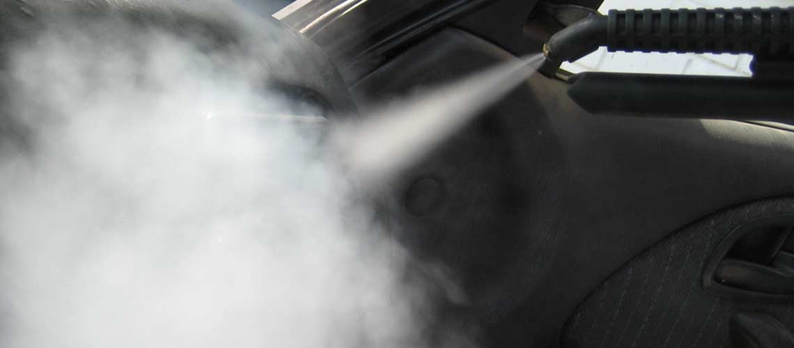 car upholstery and interior surface cleaning made easy- with pressurised steam vapour