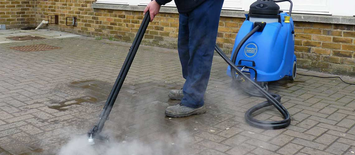 chemical-free cleaning of high traffic areas in caravan parks and campgrounds, using high temperature steam vapour