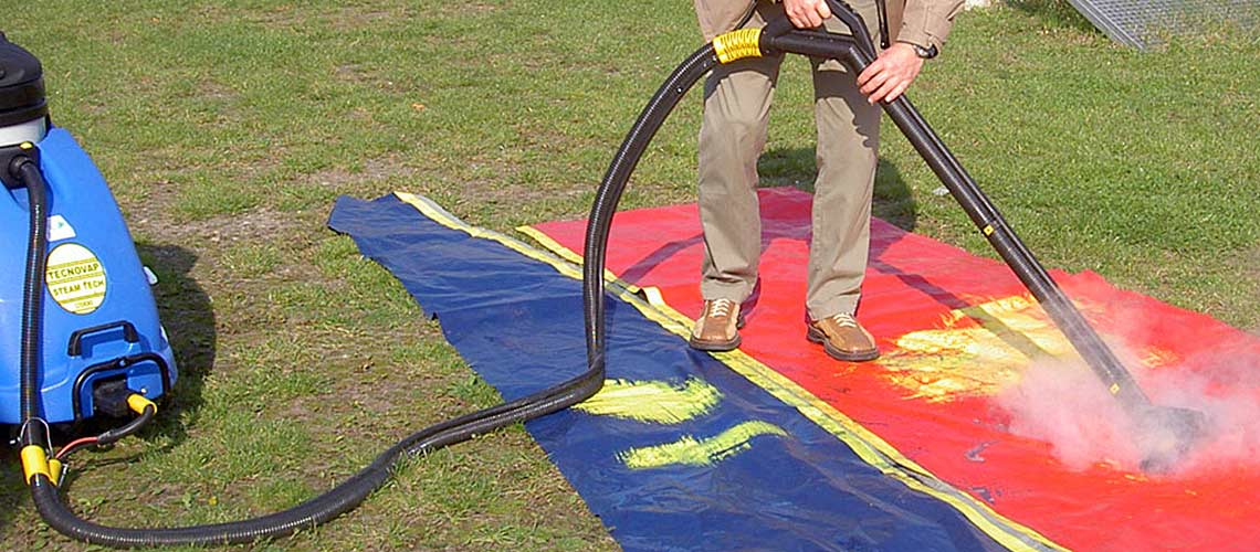 high temperature steam is used to clean hard surface campsites in caravan parks and camp grounds