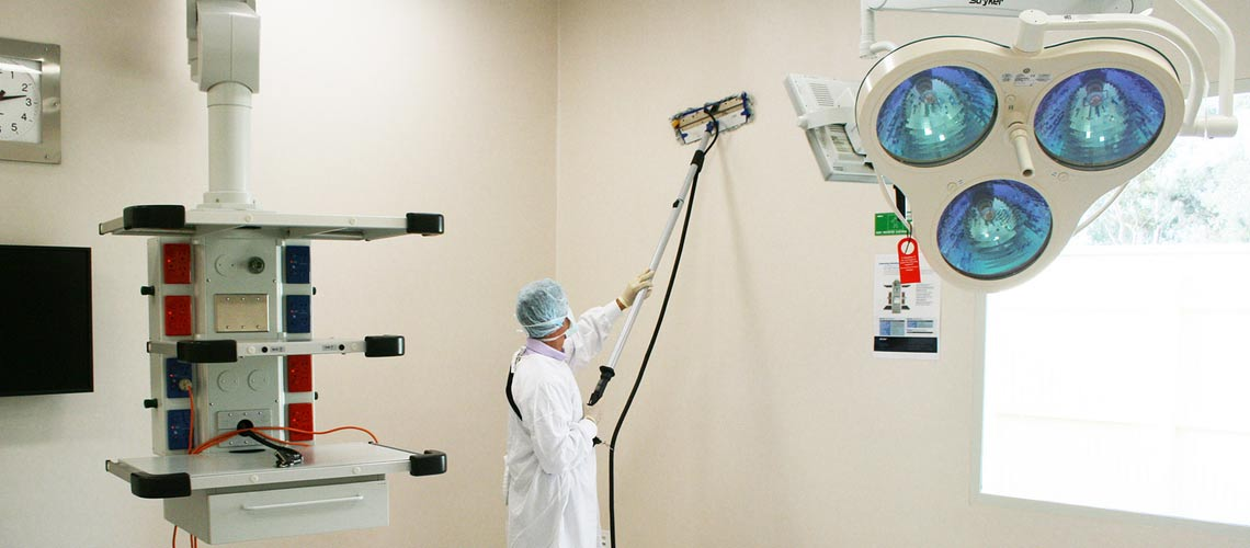 clean all surfaces in a dental surgery, using high temperature dry steam vapour cleaning machines