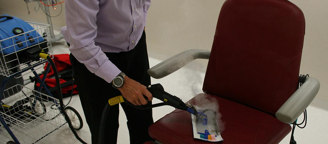 effectively eliminate all bacteria fro dental chairs and surgery touch points, with pressurized dry steam vapour