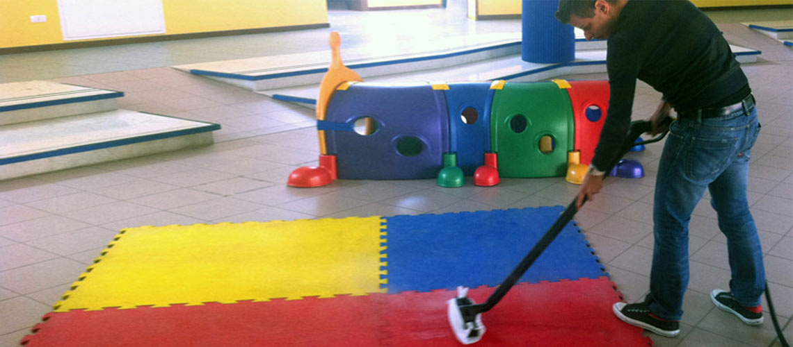 cleaning equipment designed for use by kindergarten staff and contractors