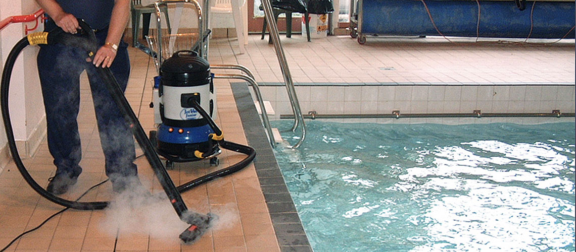 remove contaminants and bacteria from traffic areas around swimming pool perimeters