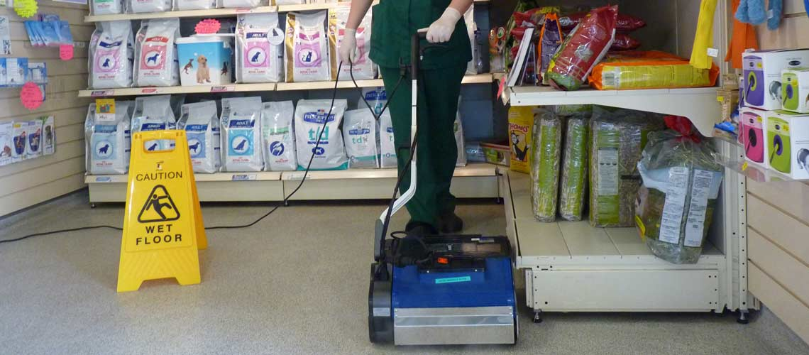 dry steam vapour cleans vet shop displays, without damaging stock