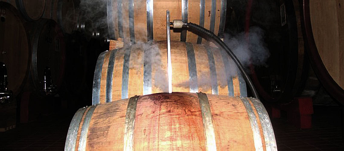 high power steam cleaning sanitizes wine barrels, bottling lines and production areas