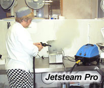 sanitise and deep clean kitchens, remove oils, fat and cooking residue from oves, stove tops and benches, with Jetsteam Professional