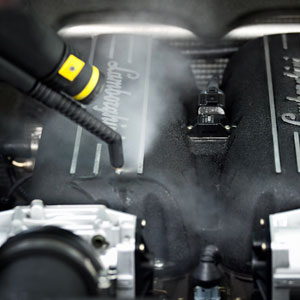 clean engine bays and remove grease with a dry steam vapour cleaner