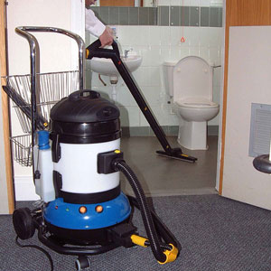 nearly dry, steam vapour enables professionals to clean bathrooms in under four minutes