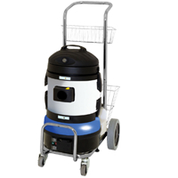 rapid starting steam cleaning machine, designed to be operational in under 4 minutes, for effective grime removal and floor sanitizing, using super-heated dry steam vapour