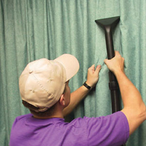 removing dirt and restoring cleanliness to curtain fabrics, drapes and pelmets