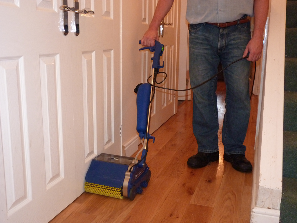 cleaning equipment for scrubbing and polishing floors within aged care residential facilities