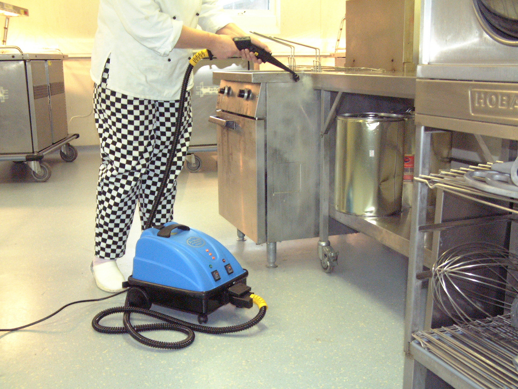 clean and degrease all kitchen floor surfaces, with professional chemical-free cleaning equipment
