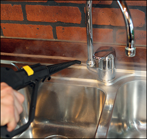 Kitchen basin steam cleaning