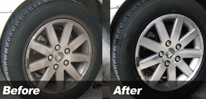 before and after cleaning wheels