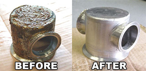before and after degreasing stains