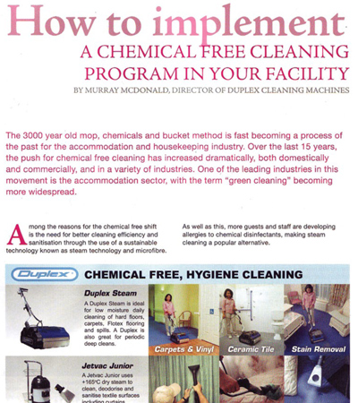 Fundamentals of implementing chemical-free cleaning in accommodatio cleaning