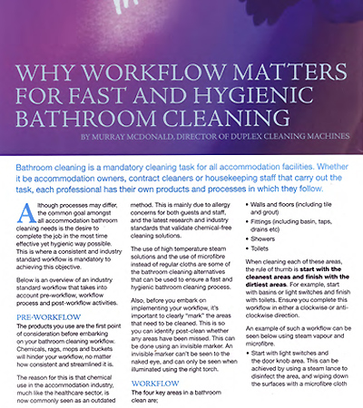 Examining the need for an efficient workflow in accommodation house bathroom cleaning