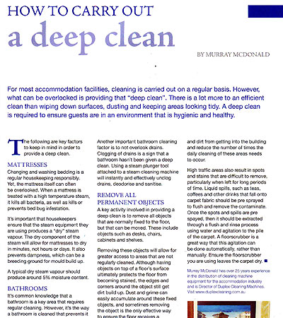 Top reasons to shift from a visual clean to a deep clean- as outlined in Housekeeper magazine, May 2016