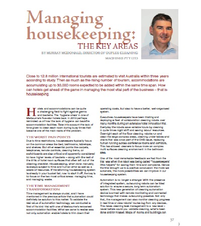 Managing the housekeeping - the key areas