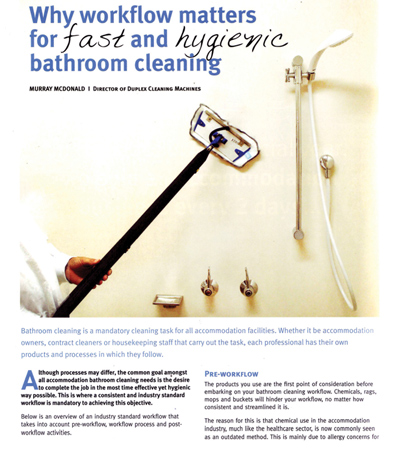 Achieving fast hygienic bathroom cleans throughout accommodation houses hotels and motels