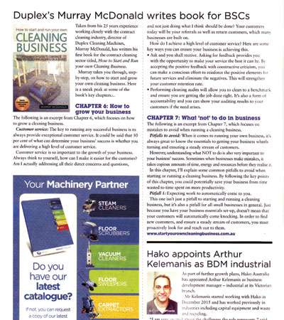 Murray McDonald of Duplex Cleaning writes and publishes a book to help cleaners starting their own business