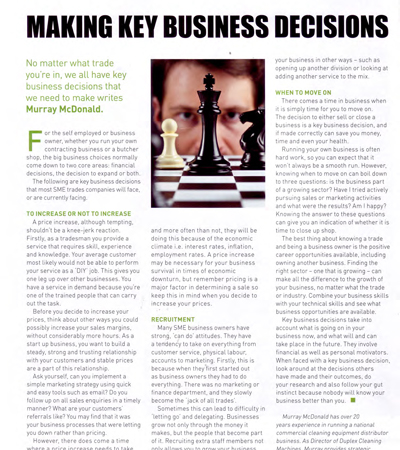 making primary decisions in your cleaning business, for long-term success