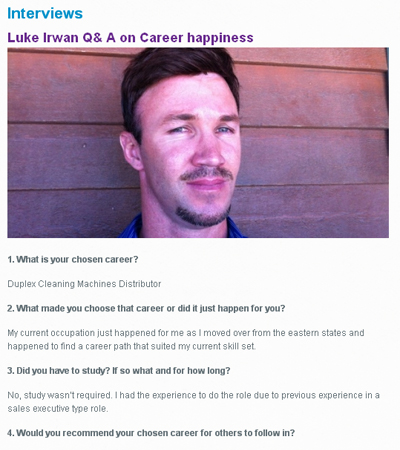 interested persons can read the questions and answers article with Luke Irwin which looks at career options within the cleaning industry