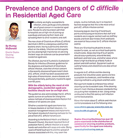examining the dangers of Difficle C in aged care- article published in August 2012