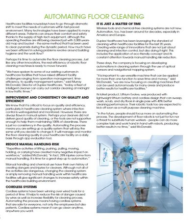 Automating Floor Cleaning Article in healthcare facilities magazine