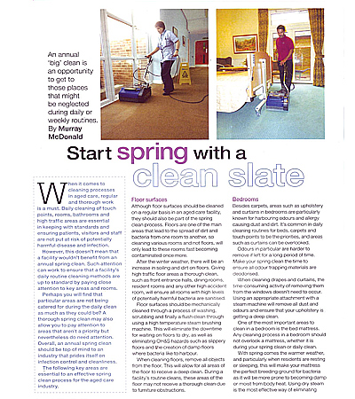 article in aged care magazine speaking about spring cleaning in elderly accommodation facilities