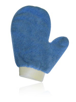 blue colored micro fibre mittens