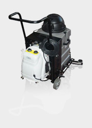commercial grade wet dry vacuum cleaning machine, with steam attachment and self-contained battery power pack