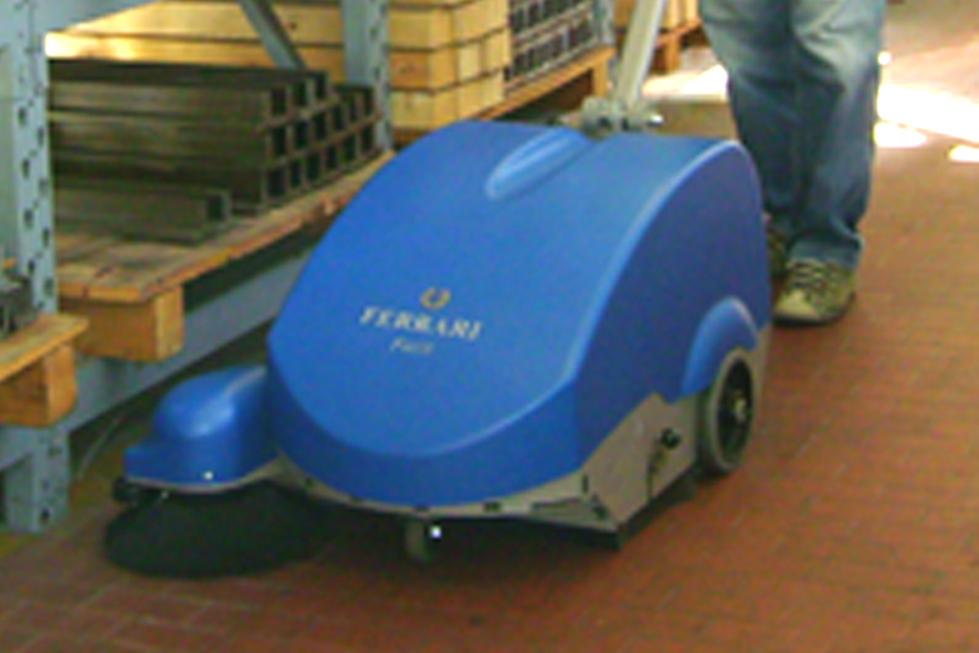 versatile, portable and able to work in tight environments, the ferrari floor sweeper is a great machine to sweep around shelves and fitures, as well as tackle large broad warehouse and factory floors