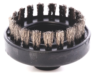a 60mm brush, made from stainless steel, designed to be used in heavy cleaning applications in conjunction with commercial equipment