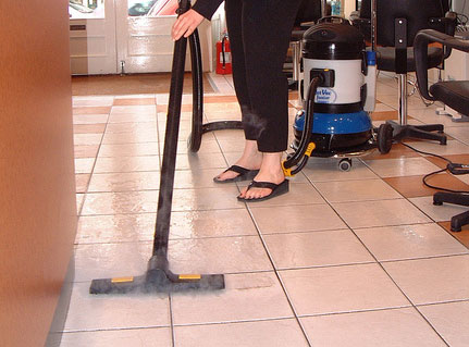 dry vacuuming floor