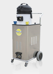 commercial floor cleaning equipment, powered by 10 bar dry steam vapour, cuts through grease and heavy floor soiling