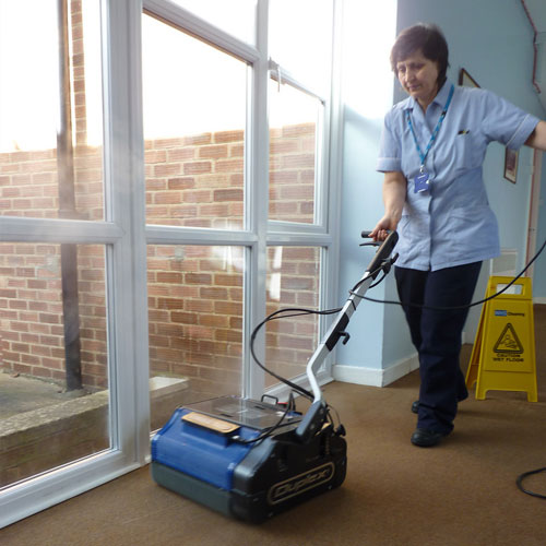 steam vacuums, microfibre mops and floor scrubbers for retirement village cleaning