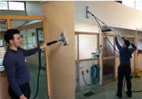 Clean walls and ceilings in vet clinics, using a Jetsteam or Thermoglide