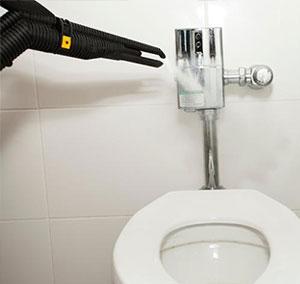 limpieza del inodoro con vapor de vapor